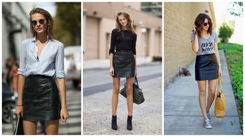Кожаная юбка: с чем можно сочетать